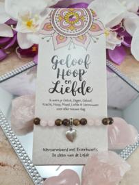 Armband - Geloof, Hoop en Liefde - Vriendschapsarmband - Rozenkwarts