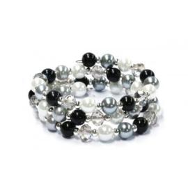 Armband - beads - grijs zwart