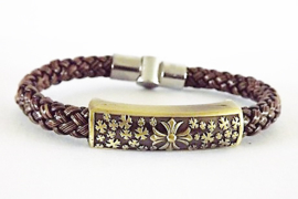 Armband - gevlochten PU-leren armband met bronskleurige schuiver - 20 cm