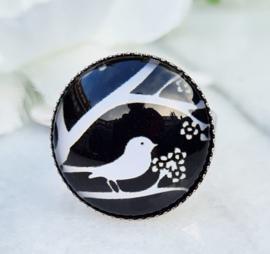 Ring - Cabochon - Vogel - verstelbaar