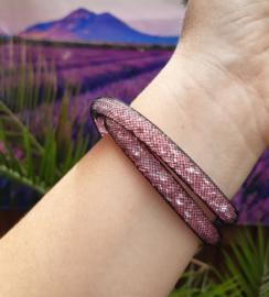 Sterren dust - wikkel armband - roze - strass magneet sluiting