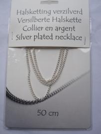 Halsketting - collier - gourmette schakel - 45 cm - verzilverd