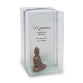 Sfeerlicht - Gelukskaarsje - Happiness - met waxinelicht - 11,5 cm
