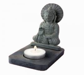 Sfeerlicht - Boeddha - waxinelichthouder - grijs - 11 cm