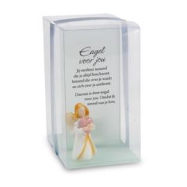 Sfeerlicht - Gelukskaarsje - Engel voor jou - met waxinelicht - 11,5 cm