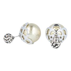 Oorbellen - Telinga - dubbel strass bol - zilverblad goud - oorsteker