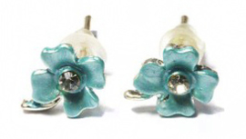 Oorbellen - klaver vier - blauw - 0,8cm