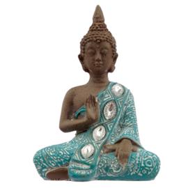 Beeld - Thaise Boeddha - Lotus - Turkoois - 13cm - C