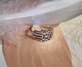 Ring - Hamsa hand - 925 Sterling Zilver - Maat 7 en 8