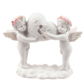 Cherubijnen  - puzzelstuk Love hart - 11,5 cm