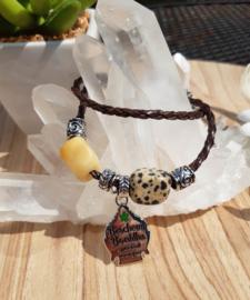 Armband - Beschermboeddha - Dalmatier Jaspis - Gele aventurijn - leer
