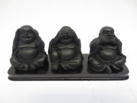 Beeld - Blije Boeddha's - horen zien zwijgen - 17 - 5 cm