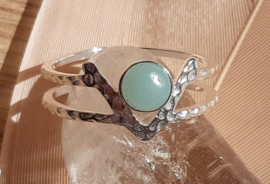 Ring - Double line - Silver - Amazonite - size 8