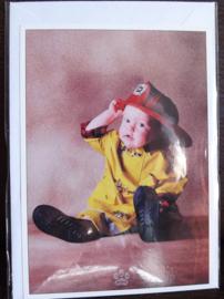 Postkaart met envelop - Brandweer - Baby - 10,5 x 15 cm