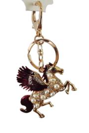 Sleutelhanger - Pegasus - paard - donkerrood goud - met strass en pareltjes