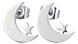Oorbellen - Moon and Star - Stainless steel - 1,3 cm