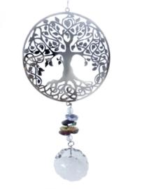 Tree of Life - Boom des Levens RVS- Raamhanger met kristal en chakra kristallen