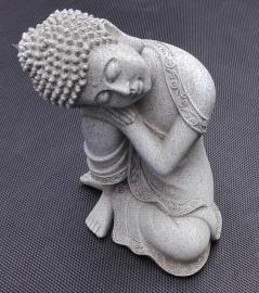 Beeld - Rustende Boeddha - Slapende Boeddha - Steengrijs - 19,5 cm