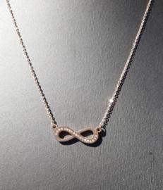 Ketting - Stainless Steel - Infinity - Rose kleur met strass
