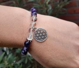 Armband - Bloem des levens - Amethist - Bergkristal