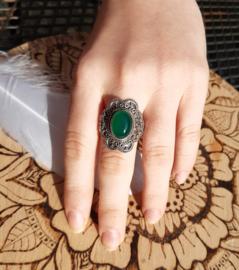 Ring - Groene Onyx - maat 8/8.5 - 925 Sterling Zilver
