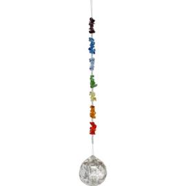 Raamhanger - Kristallen bol met chakra ketting - 15 cm