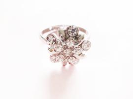 Ring - bloem - stras - verstelbaar