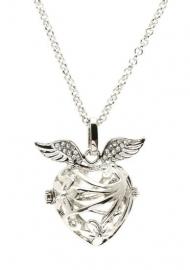 Engelenroeper zilver 16 mm hart met vleugels en bloemen