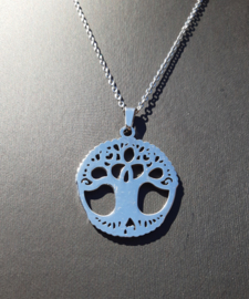 Ketting met Levensboom - sieraden set - ketting met oorbellen - RVS