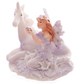 Beeldje - Glitter Fee met Eenhoorn - Fairy & Unicorn - 6 cm - div. soorten