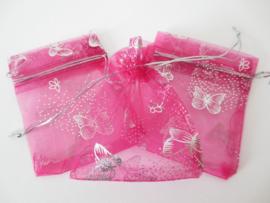 Organza cadeauzakje roze - vlinder