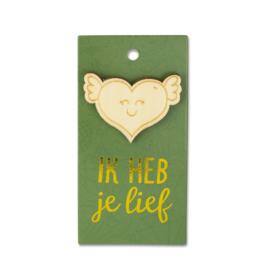 Houten Broche op cadeaukaartje - Lief