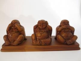 Buddhabeeld houtkleurig horen zien zwijgen
