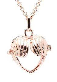 Engelenroeper - open vleugels - 16 mm - rose goud kleur - hart