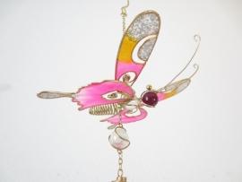 Vlinder windgong roze