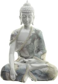 Beeld -  Thaise Boeddha - Wit Glanzend - Ontspanning