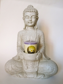 Beeld - Boeddha - Meditatieboeddha - kaarshouder - Steengrijs - 26,5 cm