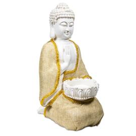 Boeddha - Vrede - met kaarshouder - 33cm