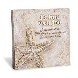 Decoratie tegel - Ik hou van jou - Home & Garden - 16,5cm
