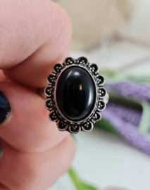 Ring - Zwarte Toermalijn - Verstelbaar - Messing