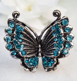 Ring - Vlinder - Metaal - Verstelbaar - Blauw