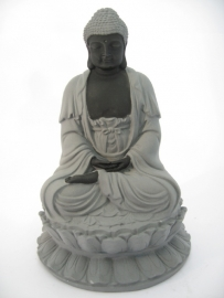 Beeld - Boeddha - op lotus troon - 17cm