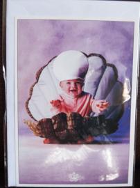 Postkaart met envelop - Schelp - Baby - 10,5 x 15 cm