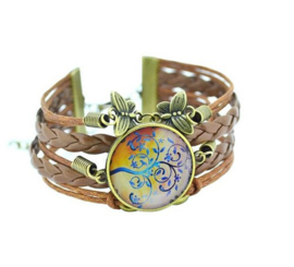 Armband - Cabochon - Levensboom  - pastel