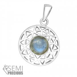 Pendant - Round - Labradorite - Silver