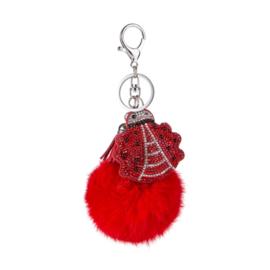 Sleutelhanger - Bol - met Lieveheersbeestje - rood