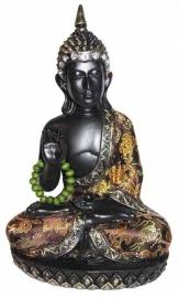 Beeld - Boeddha - Thaise Boeddha - met ketting - goud/zwart - 24 cm