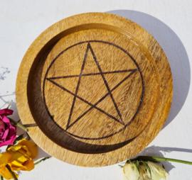 Pentagram - Grid - Mango hout - 15cm - opstaande rand