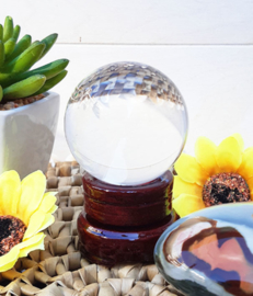 Kristallen bol - 6 cm - met houten voet