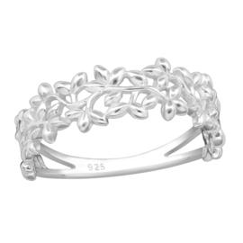 Ring - Bladeren - 925 Sterling Zilver - Maat 8
